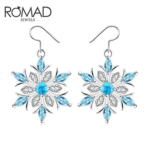 usongs 2018 beautiful red magazines net foreign trade explosion models snowflake light blue color gold earrings with blue flowers nail
