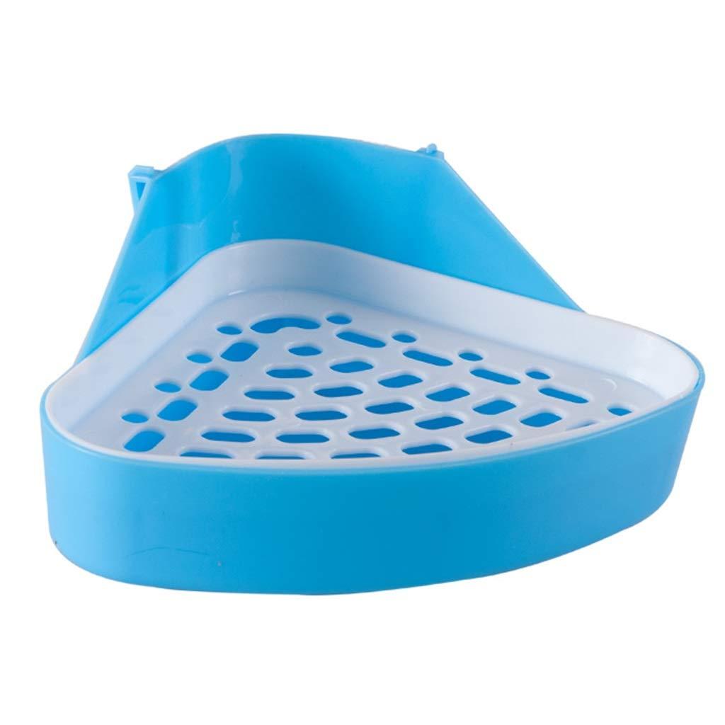 bluee 241811cm bluee 241811cm Pet toilet Rabbit Toilet Urinal Plastic Potty Pet Supplies bluee 18cm Grid Triangle Double Toilet Gift (color   bluee, Size   24  18  11cm)