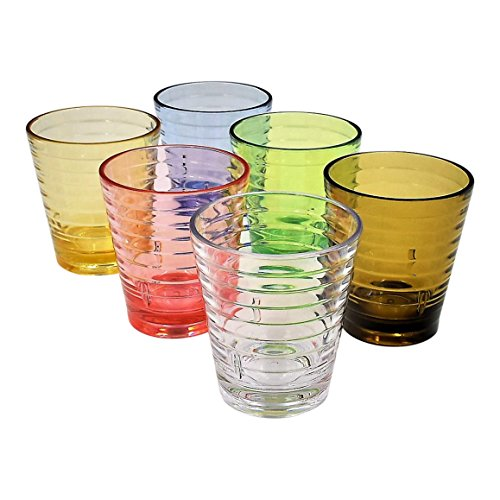 ActiveFloo Thick Premium Quality BPA Free Plastic Glasses / Acrylic Tumblers Set of Six 9.5oz Assorted Colors For Juice, Water, Ice Tea, Coffee, Beer (9.5oz) (Big Plastic Margarita Glasses)