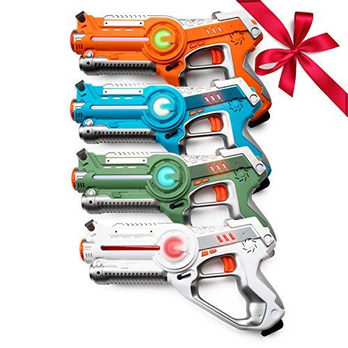 USA Toyz Kids Laser Tag Guns Laser Tag Sets Battle Box 4 Pk Lazer Tag Gun Set with Multiplayer Laser Tag Guns for Kids -