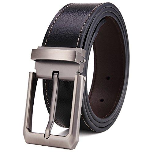 Tonly Monders Men's Belt Leather Reversible Black Brown 53