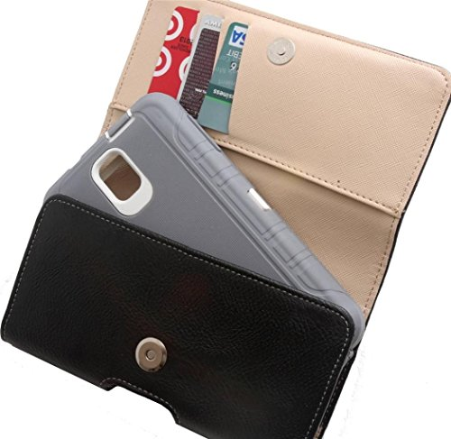 Rebono Premium Faux Leather Belt Clip Holster Pouch W/Wallet For Galaxy Note 2, Note 3, Note 4, Note 5. Otterbox Defender Case (Galaxy Note Pouch)