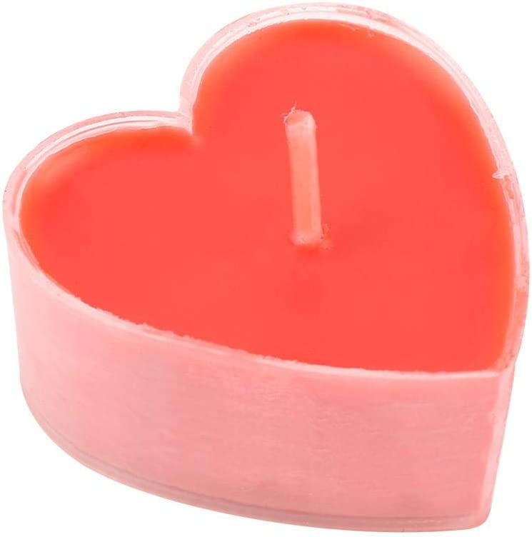 Mumusuki 9pcs Heart Shaped Red Candle Romantic Dinner Candle Home Table Party Decoration Supplies Great Gift