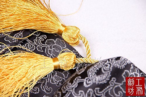 51'' Japanese Samurai Sword Katana Soft Case Sword Bag Yellow Tassel Cloud Dragon Black by jiaoguo (Image #2)