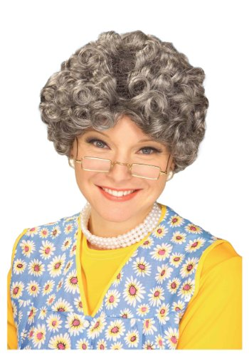[Adult Funny YO MOMMA Old Grey Gray Lady Woman Costume Wig Madea Granny] (Old Wigs)