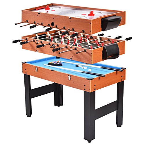 Giantex Multi Game Table, 3-in-1 48' Combo Game Table w/Soccer, Billiard, Slide Hockey, Perfect for Game Rooms, Arcades, Bars, Parties, Family Night