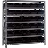 Quantum Storage Steel Shelving System with 30 Bins - 36in.W x 12in.D x 39in.H Rack Size, Black, Model# 1239-102BK