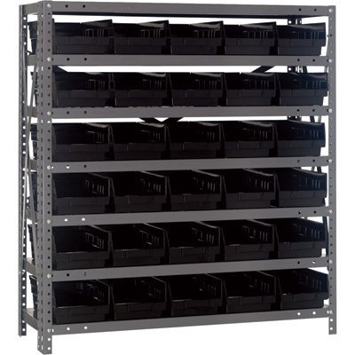 Quantum Storage Steel Shelving System with 30 Bins - 36in.W x 12in.D x 39in.H Rack Size, Black, Model# 1239-102BK by Quantum