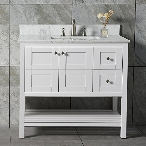 """Sydney-3621R Sydeny Solid Wood Full Length, Carra Marble, Rectangle Bowl, White Color, Two Right Drawers, Vanity + top III, 36"""""""
