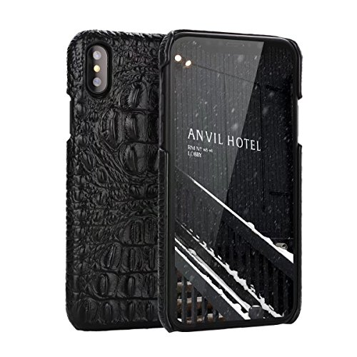 iPhone X Genuine Leather (Crocodile Texture)Case Cover,Flying Horse Real Leather Alligator Skin Texture[Ultra Slim Handmade]Back Cover for iPhone - Skin Texture Alligator