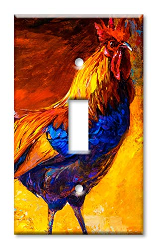 Art Plates Brand Single Gang Toggle Switch/Wall Plate - Rooster Painting (Rooster Switchplate)