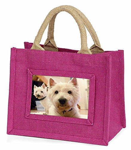 Advanta–Mini Pink Jute Tasche West Highland Terrier Hunde Little Mädchen klein Einkaufstasche Weihnachten Geschenk, Jute, pink, 25,5x 21x 2cm