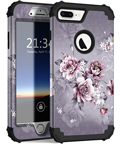 iPhone 8 Plus Case, iPhone 7 Plus Case, Hocase Heavy Duty Shockproof Protection Hard Plastic+Silicone Rubber Hybrid Protective Case for iPhone 8 Plus/iPhone 7 Plus - Grey Purple Flowers