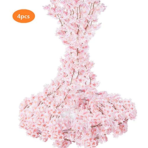 - TOPHOUSE 4pcs Artificial Cherry Blossom Garland Hanging Silk Flowers Garland for Wedding Party Home Decor (Pink)