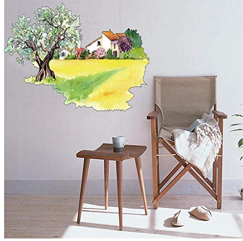 Hand Painted Field Tile - LJLQ DIY Wall Stickers Personality Field Big Tree House Hand-Painted Creative Wall Stickers Detachable Home Decoration Decal Mural Cartoon Art Decor