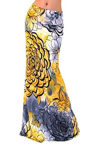 JackenLOVE t Femme Fashion Haute Taille Package Hanche Jupes de Party Casual Imprime Maxi Jupe de Plage Jaune