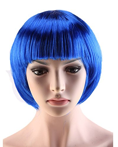 S-noilite Women Short Straight BOB Hair Wigs Cosplay Costume Party Fancy Dress Synthetic Full Bangs Wig (Fancy Dress Outlet)