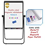 Stand White Board, Magnetic Dry Erase Board 40 x 28 inches Flipchart Pad Double Sided, Height Adjustable Portable Whiteboard with Paper Pad, 1 Eraser, 3 Markers, 6 Magnets, Black
