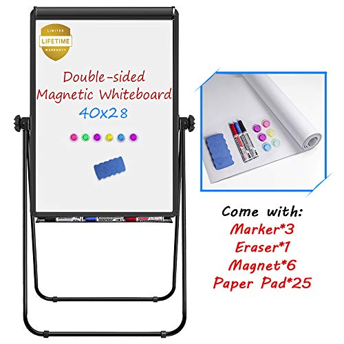 - Stand White Board, Magnetic Dry Erase Board 40 x 28 inches Flipchart Pad Double Sided, Height Adjustable Portable Whiteboard with Paper Pad, 1 Eraser, 3 Markers, 6 Magnets, Black