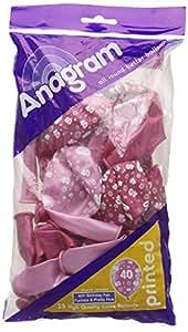 Amscan 28 cm 40th diseño de con texto en inglés y globos de látex, Fab fucsia/de color rosa para
