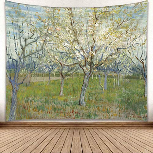 DENTRUN Van Gogh Tapestry Wall Hanging, Almond Blossom Branches Tree Wall Tapestry Vintage Cultural Print Décor for Bedroom Living Room Dorm 8 Sizes, White and Blue