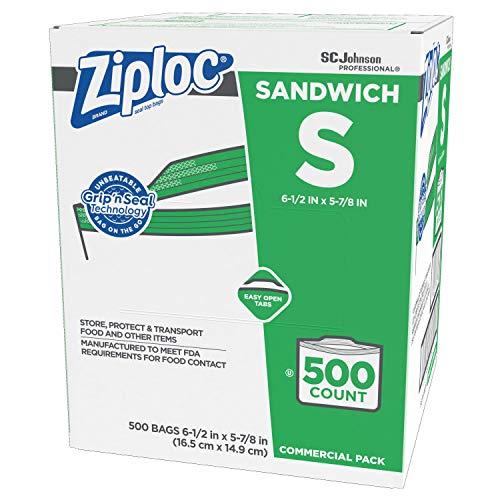 SC Johnson Professional ZIPLOC Sandwich Bags, Easy Open Tabs, 500 Count