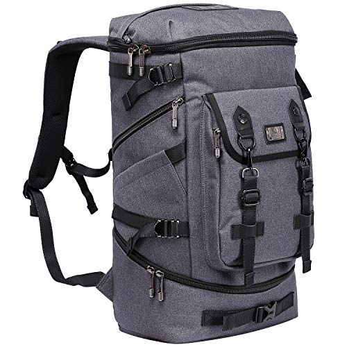 (WITZMAN Travel Outdoor Backpack Hiking Rucksack Carry On Laptop Bag Mens Duffel Knapsack (B568 Grey))