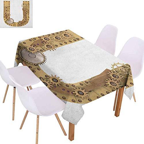 - Marilec Restaurant Tablecloth Letter U Dieselpunk Fantasy Mechanism with Plates U Font Structure Gearwheel Theme Print Excellent Durability W52 xL70 Sand Brown