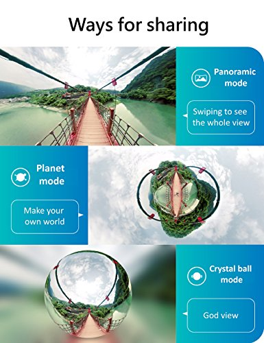 VRCam 4K 360 Degree Camera for iPhone 7/7plus/6/6plus/6s/6s plus VR 3D Panoramic Point and Shoot Video Cameras Dual Wide Angle Fisheye Lens 360 live on Facebook YouTube and Weibo-Space Gray by VRCam (Image #6)
