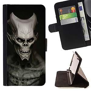 Momo Phone Case / Flip Funda de Cuero Case Cover - Cráneo extranjero del Mal;;;;;;;; - HTC One M7