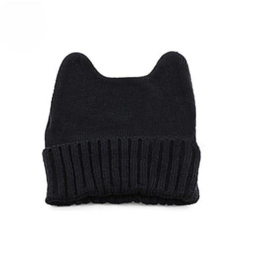 74b17a830e7 Quietcloud Soft Cute Women Girl Warm Winter Cat Ear Shape Knitted Hat  Elastic Beanie Cap (Black) at Amazon Women s Clothing store