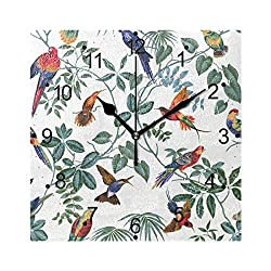 LORVIES Aviary Multi Pattern Wall Clock Silent Non TickingAcrylic 8 Inch Square Decorative Clock for Home/Office / Kitchen/Bedroom / Living Room