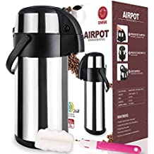 Thermal Airpot Beverage Dispenser 3L, Commercial Airpot Pourpot Beverage Dispenser, Suitable for both Hot and Cold Drinks, Pump Dispenser, Thermal Coffee Airpot, Thermal Coffee Dispenser + Brush Bonus