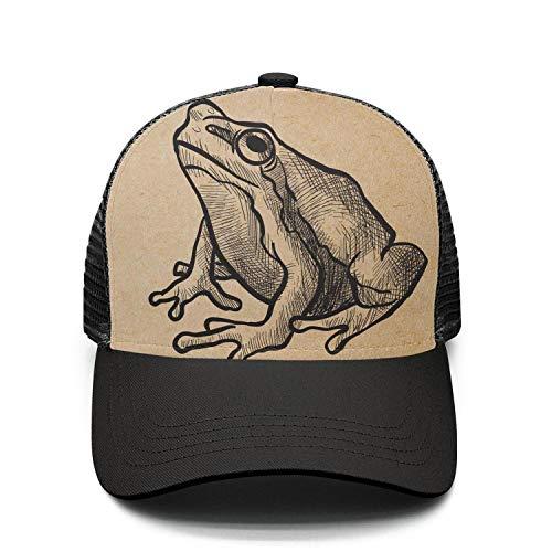 Unisex Adjustable Meshback Sandwich Hats Frog Vintage Retro Snapback Trucker Caps