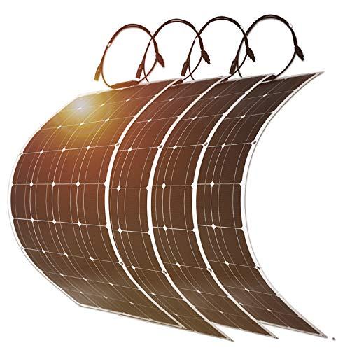DOKIO Solar Panel 4pcs100W 12V Bendable Semi-Flexible Thin Film Monocrystalline