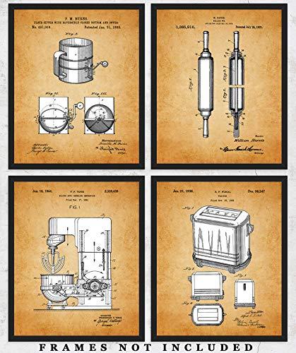Vintage Kitchen Patent Wall Art Prints: Unique Kitchen Decor – Set of Four (8×10) Unframed Pictures – Great Gift Idea