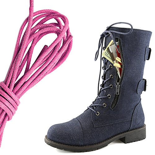 DailyShoes Womens Military Lace Up Buckle Combat Boots Mid Knee High Exclusive Credit Card Pocket, Pink Blue Denim