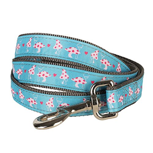 """Blueberry Pet Durable Pink Spring Heart & Mushroom Blossom Dog Leash 6 ft x 3/8"""" for Puppy, X-Small, Nylon Leashes for Dogs"""
