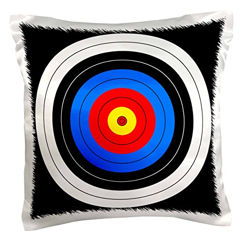 3dRose pc_159796_1 Target with Red Yellow Black White and Blue Rings Archery, Aim, Goal, Hit, Background, Sport Pillow Case, 16