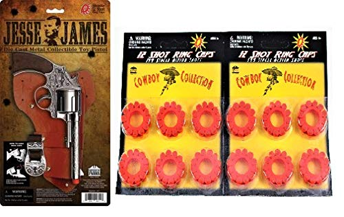 - Jesse James Pistol Holster Set Toy 2 Pack 12 Ring Caps