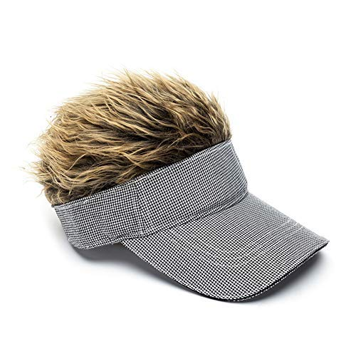 MILANMOOD Novelty Sun Cap Wig Peaked Adjustable Baseball Hat with Spiked Hairs, Grid Brown