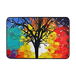 My Daily Colorful Abstract Tree Doormat 15.7 x 23.6, Living Room Bedroom Kitchen Bathroom Decorative Lightweight Foam Printed Rug