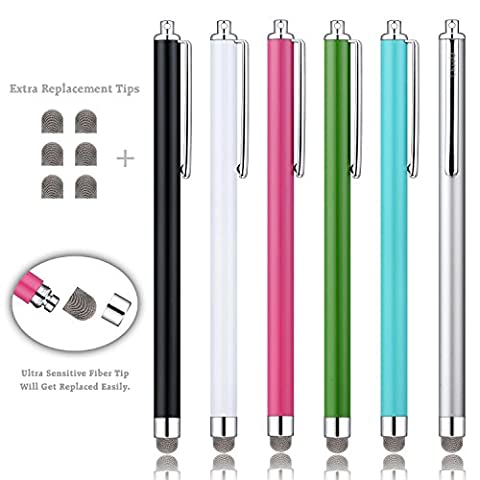 Stylus, ChaoQ ( 6 Pcs Mesh Fiber Tips ) Touch Stylus Pen With 6 Extra Replaceable Mesh Fiber Tips (black, white, pink, green, sky blue, (Pen For Touch Screen Green)