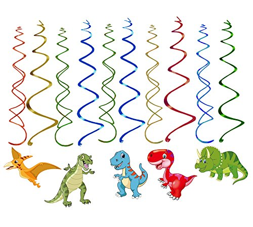 Moon Boat 30 Ct Dinosaur Hanging Swirl Decorations - Dino Fossil Jurassic T-REX Birthday Party Supplies Ornaments by Moon Boat (Image #1)