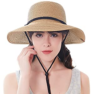 FURTALK Women's Wide Brim Sun Beach Hat Braided Bucket with Wind Lanyard UPF 50+