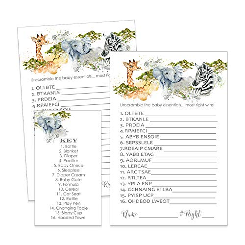 Jungle Baby Shower Game Word Scramble - Set of 25]()