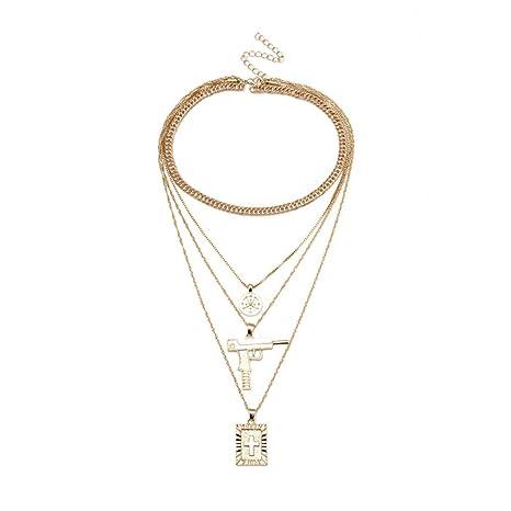 db423d2e9c4a Toamen Collar De Cadena Multi Estilo De Moda Collar Colgante Cruz Virgen  MaríA Para Mujer (