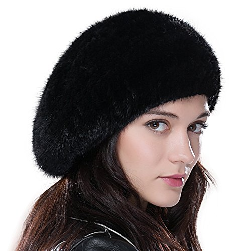 Womens Winter Beanie Real Mink Fur Beret Hat for Women French Style Beret