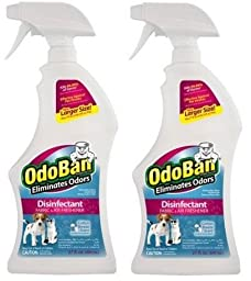 OdoBan Disinfectant Fabric and Air Freshener, Cotton Breeze Scent, 27 oz - 2 PACK