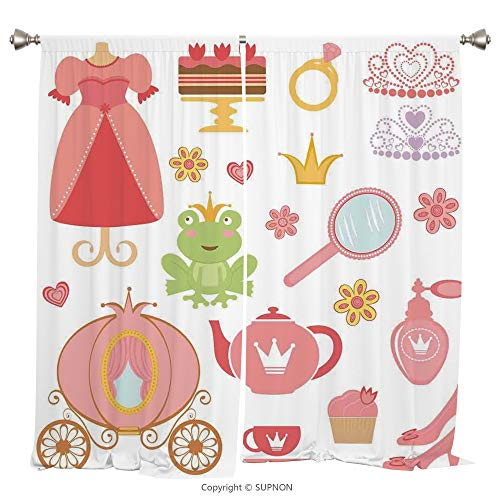 Rod Pocket Curtain Panel Thermal Insulated Blackout Curtains for Bedroom Living Room Dorm Kitchen Cafe/2 Curtain Panels/108 x 108 Inch/Kids Decor,Princess Tiara Tea Party Mirror Teapot Tea Party Frog ()